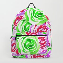 closeup rose pattern texture abstract background in pink red green Backpack