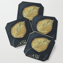 Hand-Painted Fall Ash Leaf Coaster