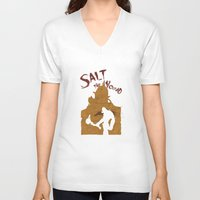 borderlands V-neck T-shirts featuring Borderlands 2 - Salt the Wound by Art of Peach