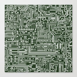 Circuit Board // Green & White Canvas Print