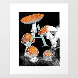 A is for Amanita muscaria Art Print