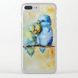 Cute Birds in Love Clear iPhone Case