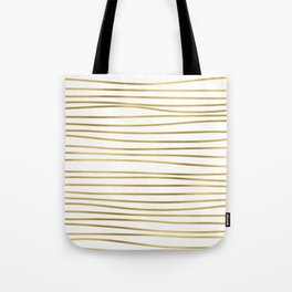 Small simply uneven luxury gold glitter stripes on clear white - horizontal pattern Tote Bag