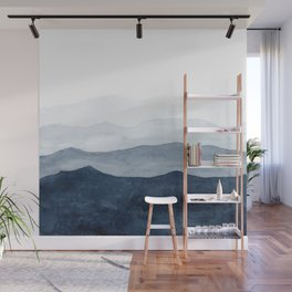 Indigo Abstract Watercolor Mountains Wall Mural