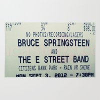 springsteen Area & Throw Rugs featuring Bruce Springsteen & the E Street Band: Rain or Shine by Christine Leanne