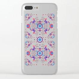 RED & BLUE  Hungarian folk art Clear iPhone Case