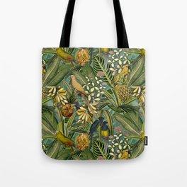 Vintage & Shabby Chic - Green Tropical Bird Flower Garden Tote Bag
