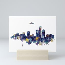 Detroit Skyline Silhouette Mini Art Print