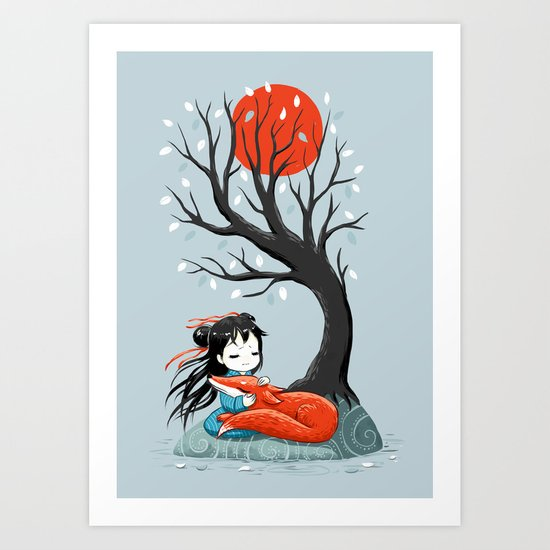 Girl and a Fox 2 Art Print