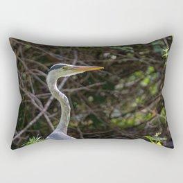 Gray heron on the edge of a pond Rectangular Pillow
