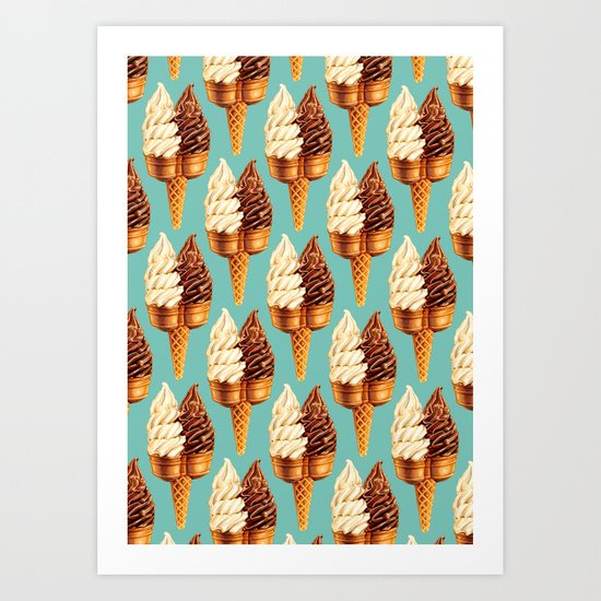 Ice Cream Pattern - Teal Art Print
