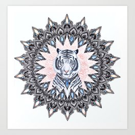 White Tiger Sapphire and Rose Mandala Art Print