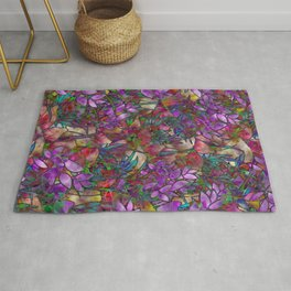 Floral Abstract Stained Glass G175 Rug