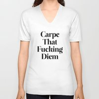 typography V-neck T-shirts featuring Carpe by WRDBNR