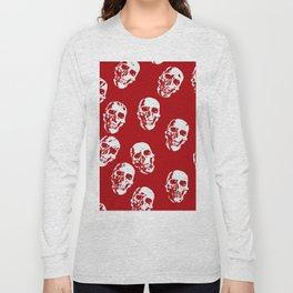 Hot Skulls, red white Long Sleeve T-shirt