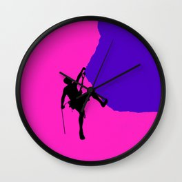 Climbing in sunset Wall Clock