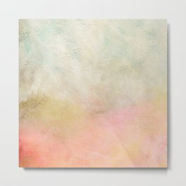 Abstract Seascape Modern Art Painting | Coral, Gold, Mint Green Blush Pastel Metal Print