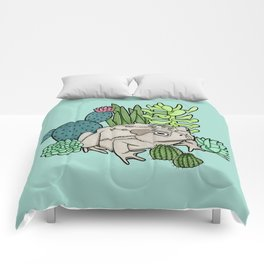Toad with Succulents - Turquoise Comforters
