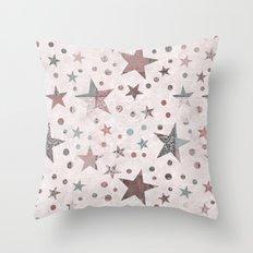 Pink Patchwork Stars Throw Pillow