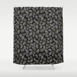 Dark glossy pebbles Shower Curtain