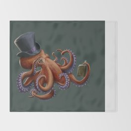 Tentacled Monocled Sir Throw Blanket