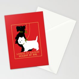 Retro London and Glasgow by train, dogs terriers Stationery Cards