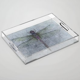 Dragonfly on blue stone and metal background Acrylic Tray