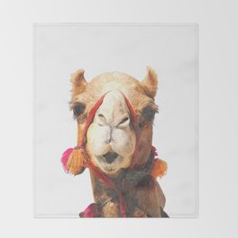 Camel Portrait Throw Blanket
