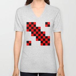 Black and red squares Unisex V-Neck