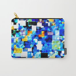 geometric square pixel pattern abstract in blue brown Carry-All Pouch