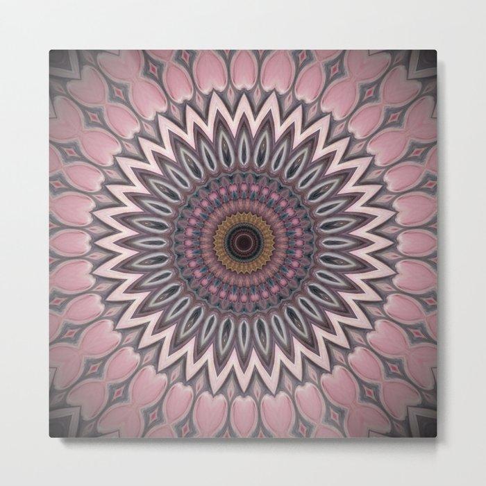 Pink grey Flower Mandala Design Metal Print