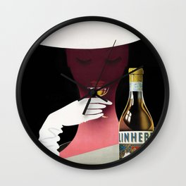 1950 Linherr Vermouth Bianco Aperitif Vintage Poster by arthur Ziegler Wall Clock