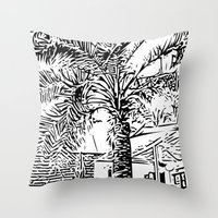 palm tree Throw Pillows featuring Palm tree by ArteGo