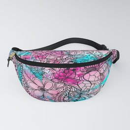 Modern pink turquoise floral watercolor handdrawn pattern Fanny Pack