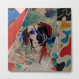 Dachshund Abstract mixed media digital art collage Metal Print