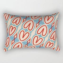 Red Hearts Vintage Blue Geometric Design Shapes Rectangular Pillow