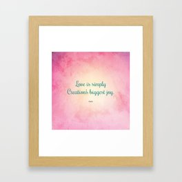 Love is Simply... Quote by Hafiz Framed Art Print