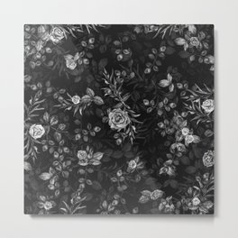 Fall Roses II Black and White - digital floral illustration pattern Metal Print