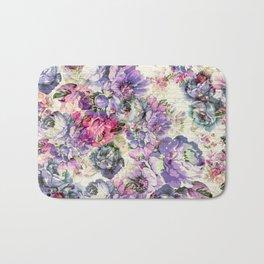 Vintage bohemian rustic pink lavender floral Bath Mat
