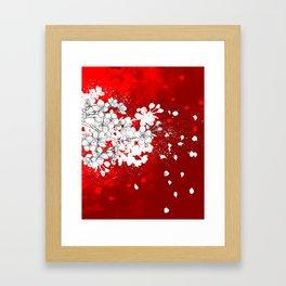 Red skies and white sakuras Framed Art Print