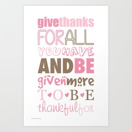 Give Thanks Quote Art Print