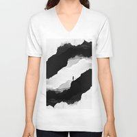 mountains V-neck T-shirts featuring White Isolation by Stoian Hitrov - Sto