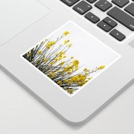 Minimal Garden -Yellow Version - Black Stems with Yellow Petals On White #decor #society6 #buyart Sticker