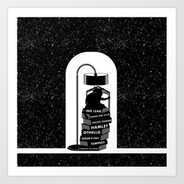 CAT READING SHAKESPEARE Art Print