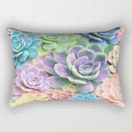 Rainbow Succulents Rectangular Pillow