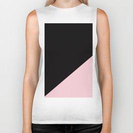 Black & Soft Pink - oblique Biker Tank