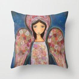 Angel en Rosa by Flor Larios Throw Pillow