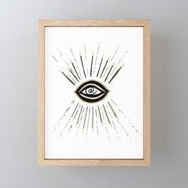 Evil Eye Gold Black on White #1 #drawing #decor #art #society6 Framed Mini Art Print