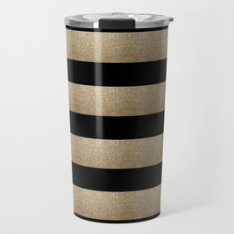preppy contemporary minimalist great gatsby champagne black gold stripes Travel Mug