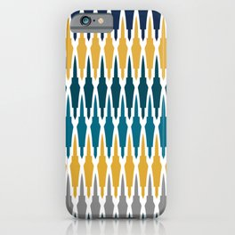 Boho, Geometric Pattern, Blue, Teal, Yellow and Gray iPhone Case